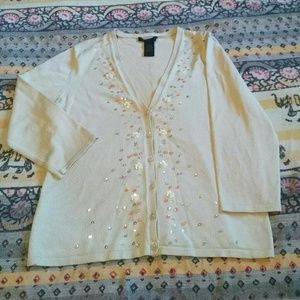 The Limited silk cardigan with sequin design